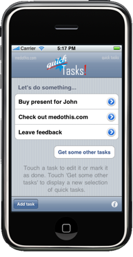 simpler than GTD, QuickTasks for iPhone